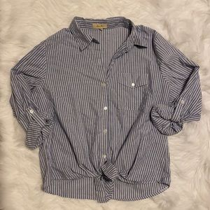 Tie front button up striped top